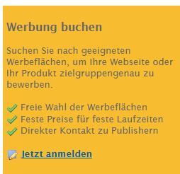 Suchen Sie nach geeigneten Werbeflächen, um Ihre Webseite oder Ihr Produkt zielgruppengenau zu bewerben.